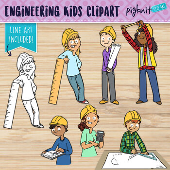 Engineering Kids Clipart | Set of 6 Middle School Kids