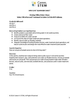 Engineering Mini Unit & Project Based Assessment: Making Filthy Water Clean