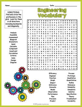 Engineering  Vocabulary Word Search FUN