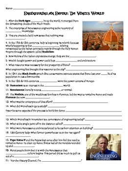 Engineering an Empire: Da Vinci's World video worksheet