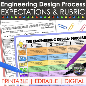 Engineering And Design Process Rubric For Stem Or Steam By Elementary Inquiry