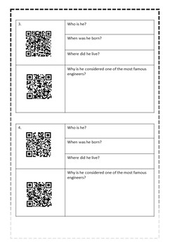 Engineering and Technology - QR CODE Famous Engineers scavenger hunt!