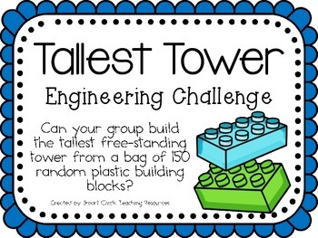 Engineering with Plastic Building Blocks ~ STEM Challenges ~ Set of Five!