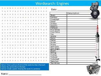 Engines Wordsearch Puzzle Sheet Keywords Design Engineering Mechanisms