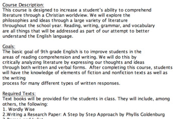 English 9 Syllabus for a Christian School (Editable)