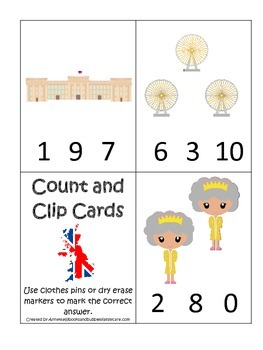 England #2 themed Numbers Clip it Cards preschool math learning activity.