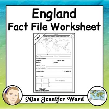 England Fact File Worksheet