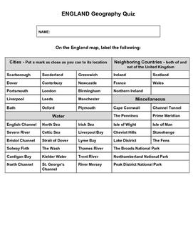 England Geography Quiz