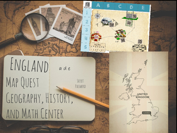 England Map Quest-Math, History and Geography Activity