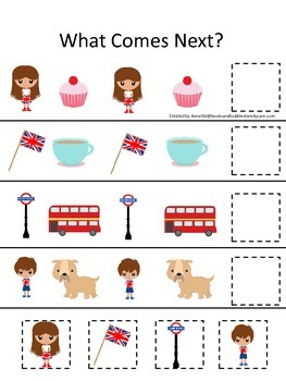 England What Comes Next preschool math game #1.  Printable daycare curriculum.
