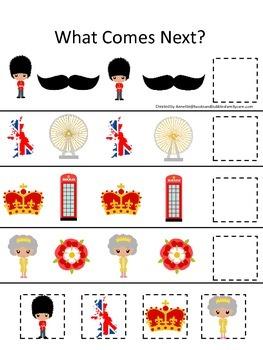 England What Comes Next preschool math game #2.  Printable