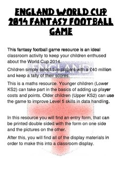 England World Cup Fantasy Football game for schools