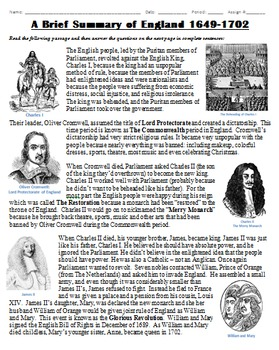 England from 1649-1702 Summary: Restoration, Glorious Revolution