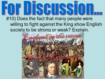 England in the 1600s: War & Revolution, Close Read & Discussion Questions