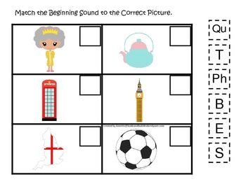 England themed Match the Beginning Sound preschool learning game.  Daycare.