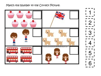 England themed Match the Number #1 preschool learning game.  Daycare curriculum.