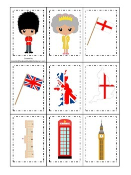 England themed Memory Matching preschool learning game.  Daycare.