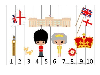 England themed Number Sequence Puzzle preschool learning game.  Daycare.