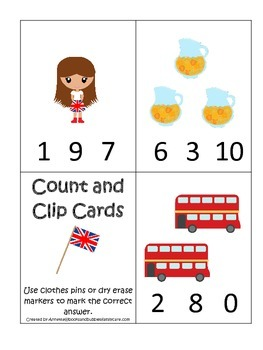 England themed Numbers Clip it Cards preschool math learni