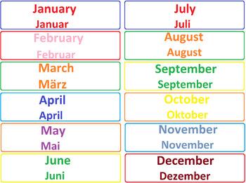 Engligh - German Calendar
