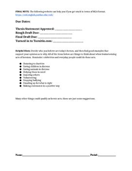English 1-2 Argumentative/Persuasive Paper
