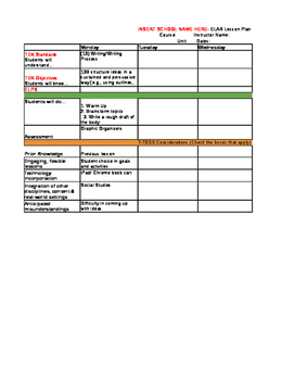 English 1 and 2 Weekly Lesson Plan for T-TESS *with Drop Down Boxes*