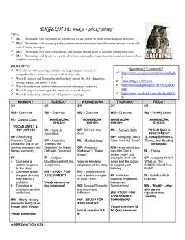 English 10 Course Weekly Agendas