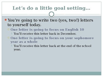 English 10 Goal Setting Activity (can be edited for different grade/subject)