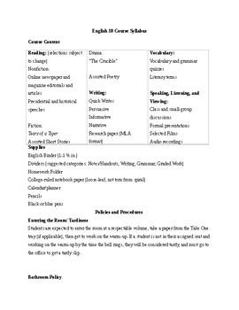 English 10 Syllabus