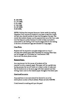 English 10 Syllabus for Christian School