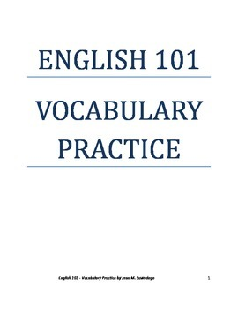 English 101 Vocabulary Practice