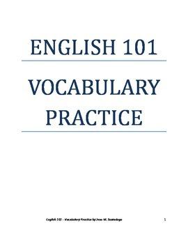 English 101 Vocabulary Practice
