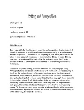 English 11 - Essay Composition Unit