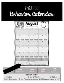English 2019-2020 Behavior Calendar