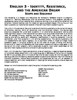 English 3 18-Week Curriculum - Scope and Sequence