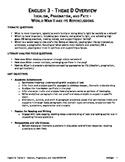 English 3 - Unit 5 - Theme D - Idealism, Pragmatism, and Fate