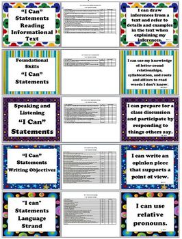 English 4 Common Core ELA - I Can Statements, Checklist, and At a Glance Guide
