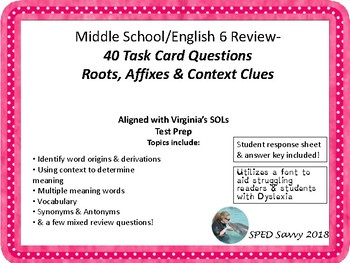 English 6 & 7 Middle School Roots Context Clues & Vocab Task Card Review