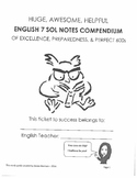 English 7 SOL Test Notes Compendium