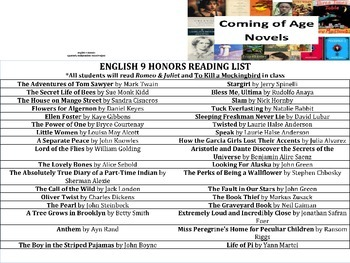 English 9 Novel Project