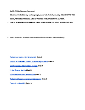 English 9 Unit 1 Discussion Questions and Summative Assessment