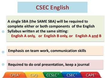 English A CSEC SBA Lesson Plan 1
