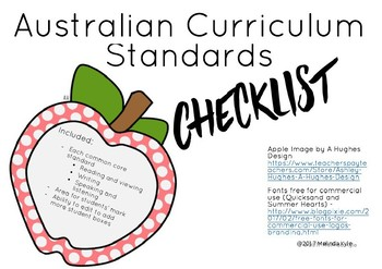 English ACARA Standards Checklist