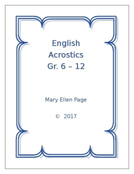 English Acrostics Games Book  Grades  6-12