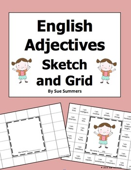 English Adjectives Grid and Sketch Activity