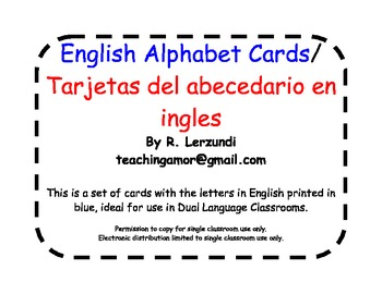 English Alphabet Cards in Blue for Dual Language Classrooms