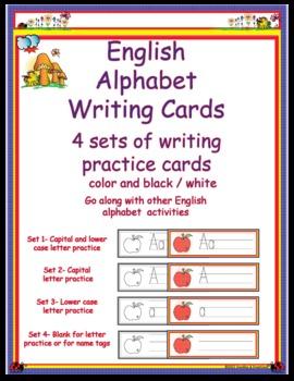 English Alphabet Letter Writing Cards