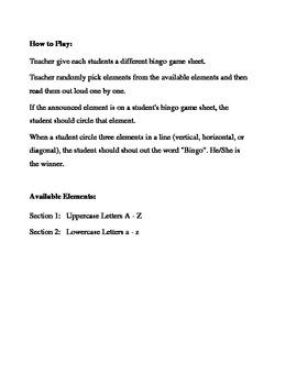 English Alphabet Letters Bingo Game (H&I Bingo Game Sheets) - 3 X 3
