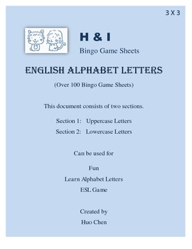English Alphabet Letters Bingo Game (H&I Bingo Game Sheets) - 3 X 3