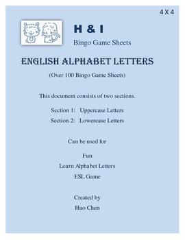 English Alphabet Letters Bingo Game (H&I Bingo Game Sheets) - 4 X 4